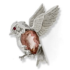 18k White Gold Songbird Pin with Pink Tourmaline