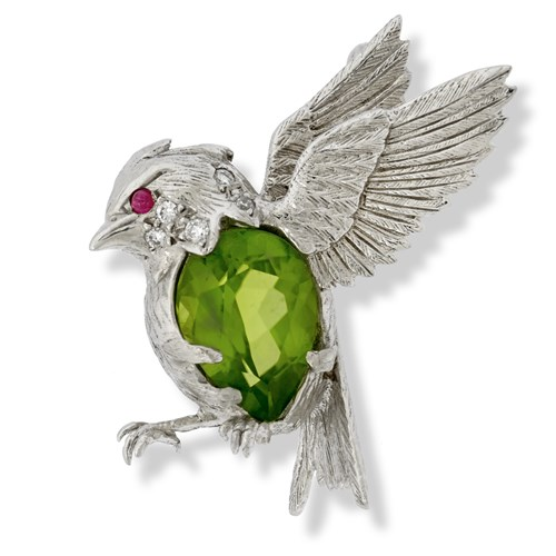 18k White Gold Songbird Pin with Peridot