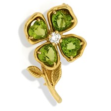 18k Gold Capri Flower Pin with Diamond & Peridots