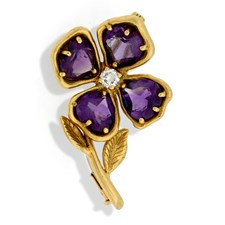 18k Gold Capri Flower Pin with Diamond & Amethysts