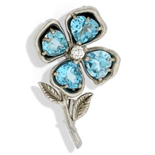 18k White Gold Capri Flower Pin with Diamond & Topazes