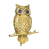 18k YG Owl On Branch Sapphires and Diamond Pin