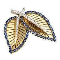 Double Leaf Gold Pin Sapphires Diamonds