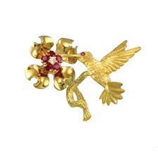 18k Yellow Gold Hummingbird & Flower Pin