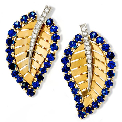 Gold Leaf Earrings Sapphires Diamonds
