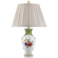 Herend Fruits and Flowers with Green Border Porcelain Lamp
