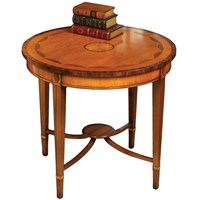 Round Inlaid End Table