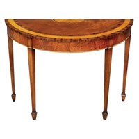 Mahogany Demilune Inlaid Console Table