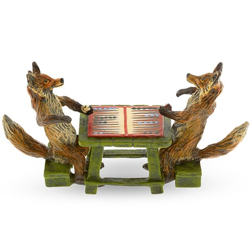 Austrian Bronze Two Foxes Playing Backgammon Figurine
