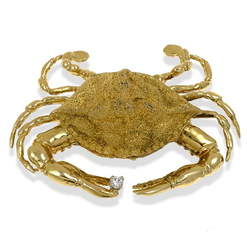 18k Gold Crab Pin with Diamond