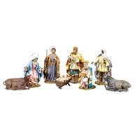 Italian Cartapesta Eight Piece Nativity Set
