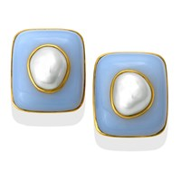 18k Gold Blue Chalcedony Cushion Earrings with Baroque Pearls