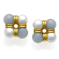 18k Gold Four-Corner Blue Chalcedony & Pearl Earrings