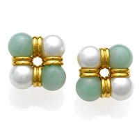 18k Gold Four-Corner Jadeite & Pearl Earrings
