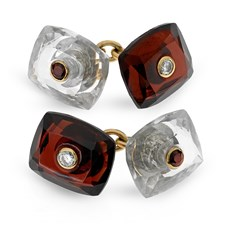 18k Gold Garnet and Clear Crystal Cufflinks with Diamonds