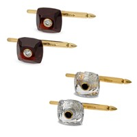 18k Gold Garnet and Clear Crystal Studs with Diamonds, Set of 4