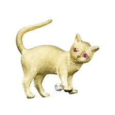 18k Yellow Gold Ruby Eyes Cat Pin