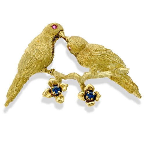 18k Gold Pair of Lovebirds Pin with Ruby and Sapphire
