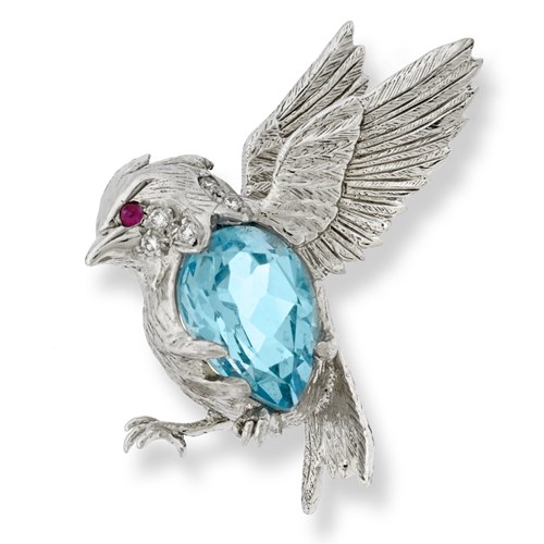 18k White Gold Songbird Pin with Blue Topaz