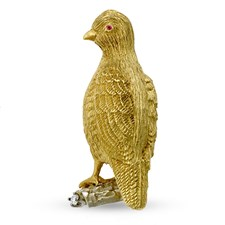 18k Gold Perched Quail Pin with Ruby Eyes
