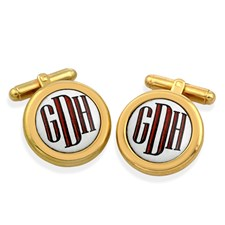 Monogram Cufflinks Red Letters on White