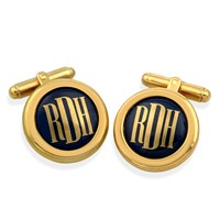 Monogram Cufflinks Gold Letters on Blue