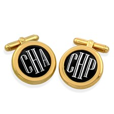 Monogram Cufflinks White Letters on Black