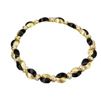 Black Onyx & Gold Necklace Diamonds