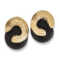 18K Gold and Black Onyx Figure 8 Earrings