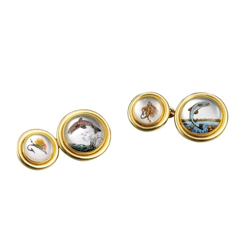 18k Leaping Trout Crystal Cufflinks