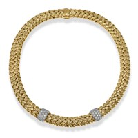 18k Yellow Gold Platinum Woven Necklace with Diamonds