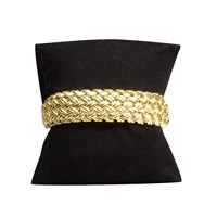 Wide Gold Basketweave Cuff Bracelet