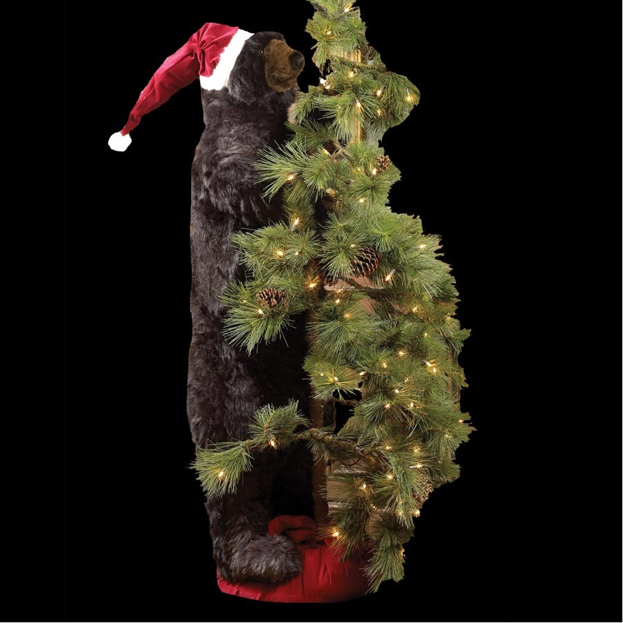 Bear Decorations For Home: High Mountain Black Tree Bear With Santa Hat