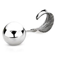 Sterling Silver Feather Baby Rattle
