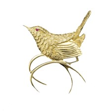 18k Gold Carolina Wren Pin