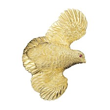 18k Gold Flying Quail Pendant / Pin