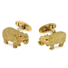 18k Gold Hippo Cufflinks with Ruby Eyes