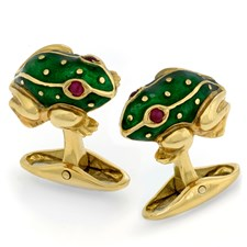 18k Gold Enameled Frog Cufflinks with Green Cabochon & Ruby Eyes