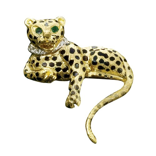18k Gold Cheetah Pin with Diamond Collar