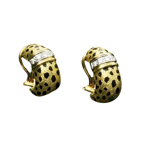 Cheetah Shrimp Earrings with Diamonds