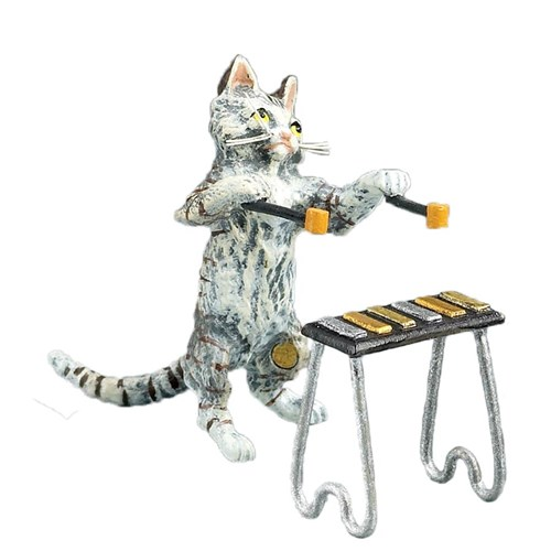 Austrian Bronze Cat Playing Xylophone Figurine - 2 Piece