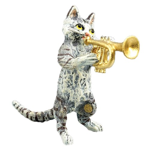 Austrian Bronze Cat Playing Trumpet Figurine