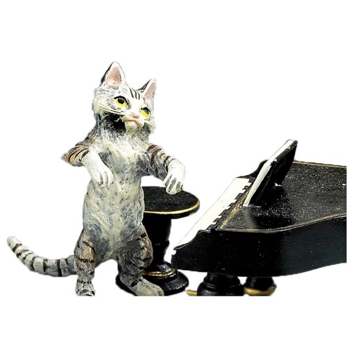 Austrian Bronze Cat with Piano & Stool