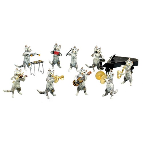 Austrian Bronze 9-pc Cat Orchestra: List T1264-T1272 Figurine