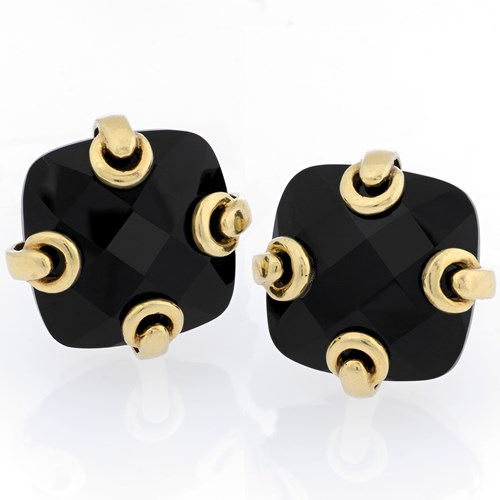 18k Gold Black Faceted Onyx Earrings with Grommets