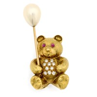 18k Gold Teddy Bear Pin with Pear Balloon & Diamonds