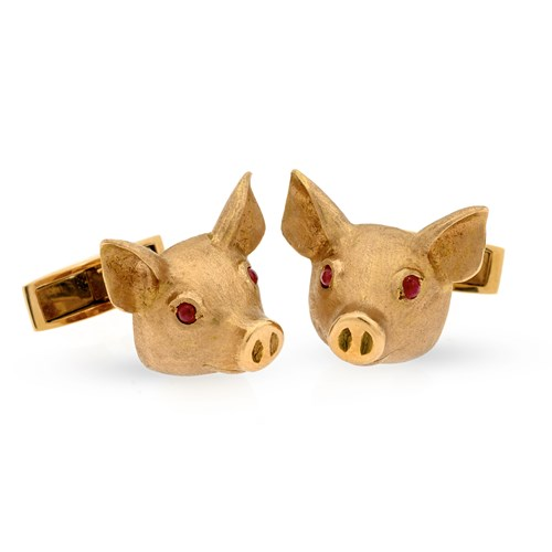18k Rose Gold Pig Head Cufflinks with Ruby Eyes