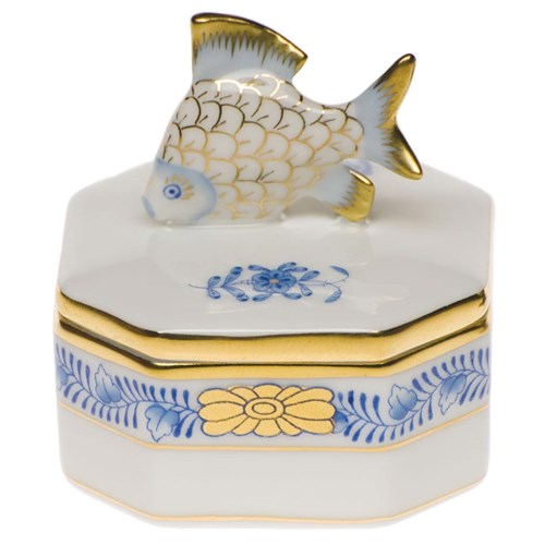 Herend Chinese Bouquet Fish Box, Blue