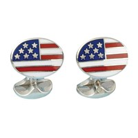 American Flag Sterling Enamel Cufflinks