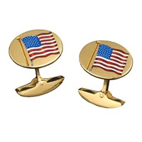 Waving American Flag Enamel Cufflinks